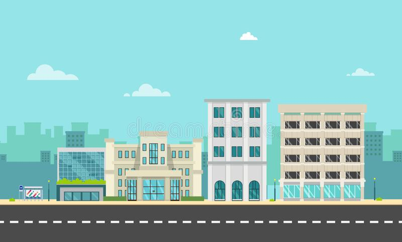 City street and company with bus stop in flat style.Business buildings in urban.Buildings on main street. Vector illustration.Modern cityscape design.Urban royalty free illustration