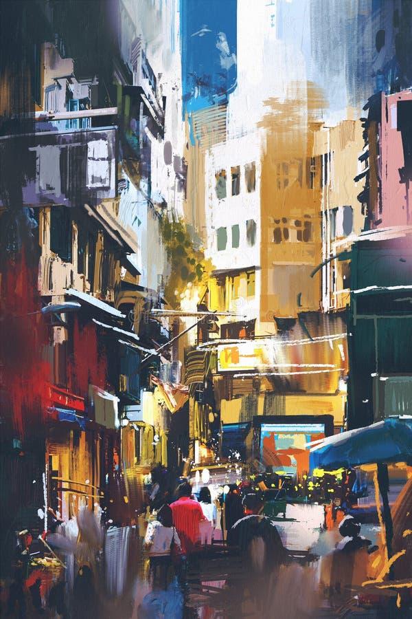 City street with digital art style vector illustration