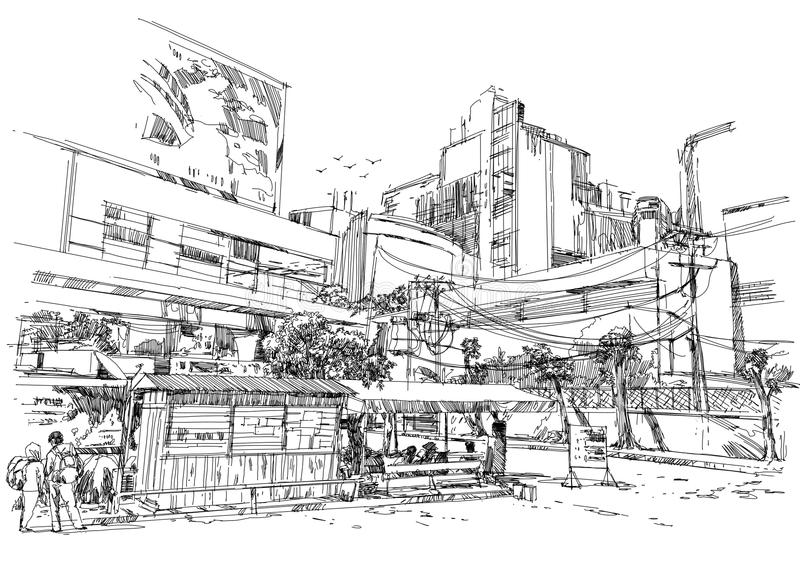 City street digital sketch.Illustration. Hand drawn stock illustration