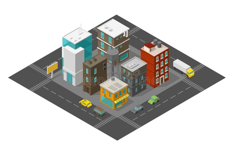 City street district quarter Isometric the road around. Cars and buildings town top view 3d. Vector illustration. City street district quarter Isometric the road stock illustration