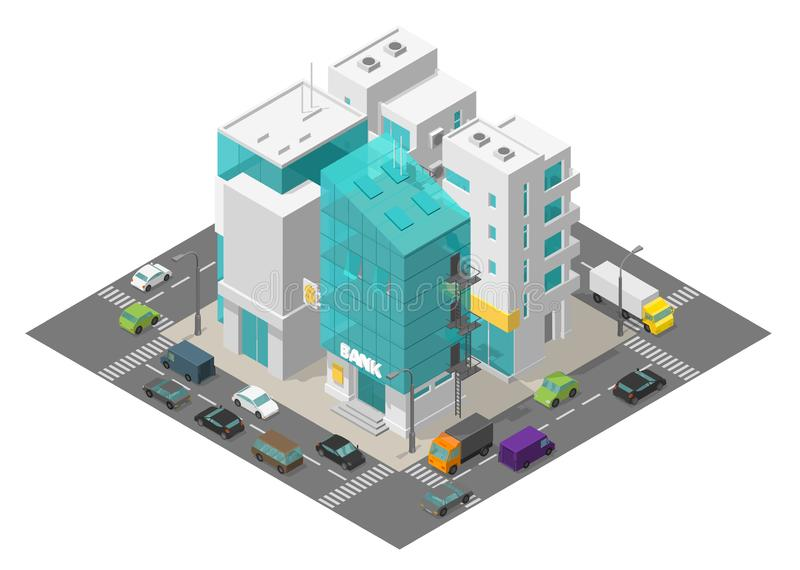 City street district quarter. Isometric town and road around. Cars traffic and buildings 3d. Bank building suite apartments. Vector illustration stock clipart royalty free illustration