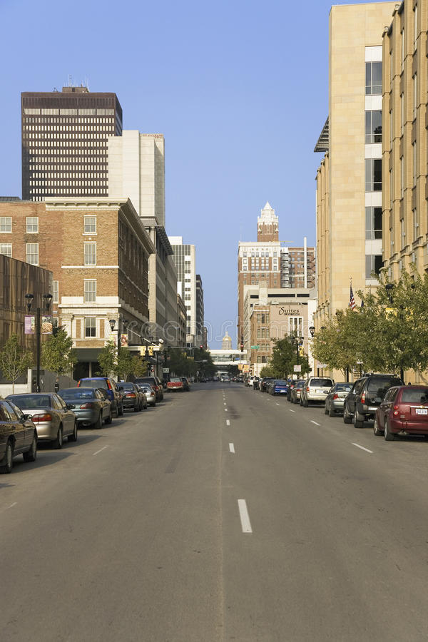 City street in downtown Des Moines royalty free stock photo