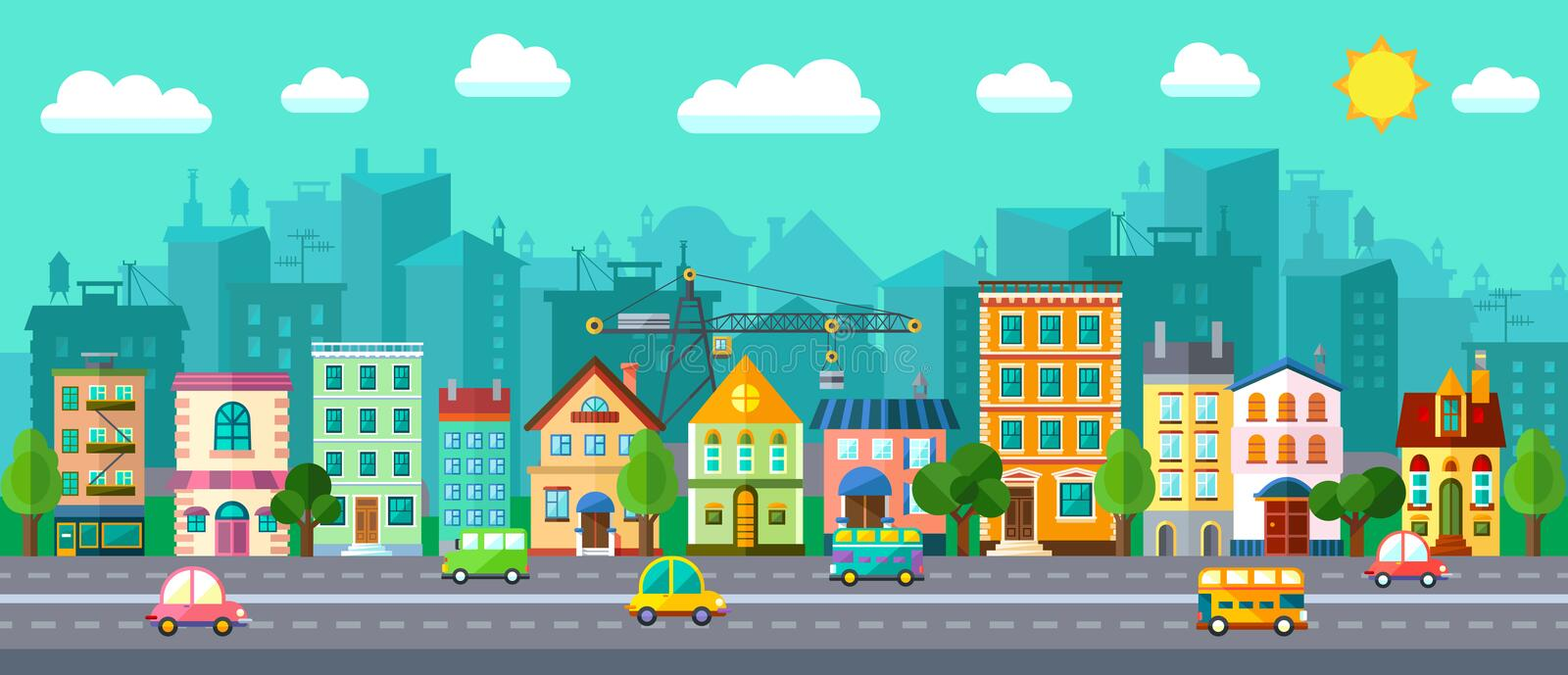 City Street in a Flat Design. Vector City Street in a Flat Design and Set of Urban Buildings