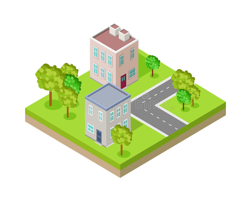 City Street Fragment Isometric Projection Vector. City street block in isometric projection. Urban landscape fragment with road, buildings, trees, lawn, ground royalty free illustration