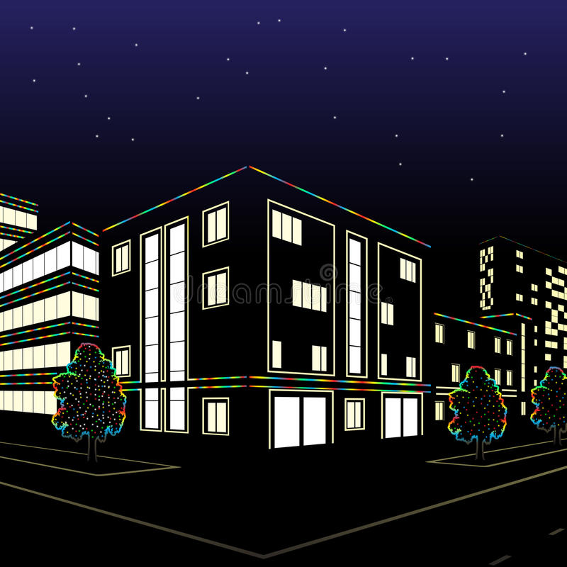 City street on a holiday night. City street with colored lights at night stock illustration