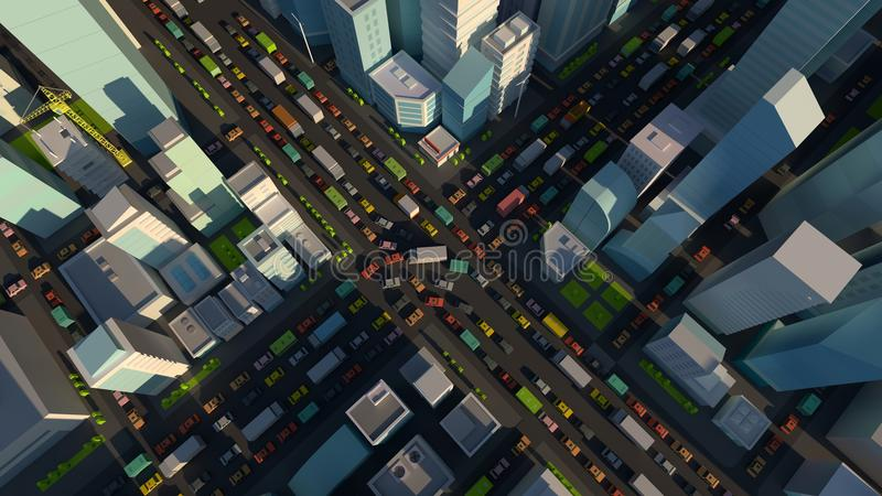 City street Intersection traffic jams road 3d render. Very high detail projection view. A lot cars end buildings top stock illustration