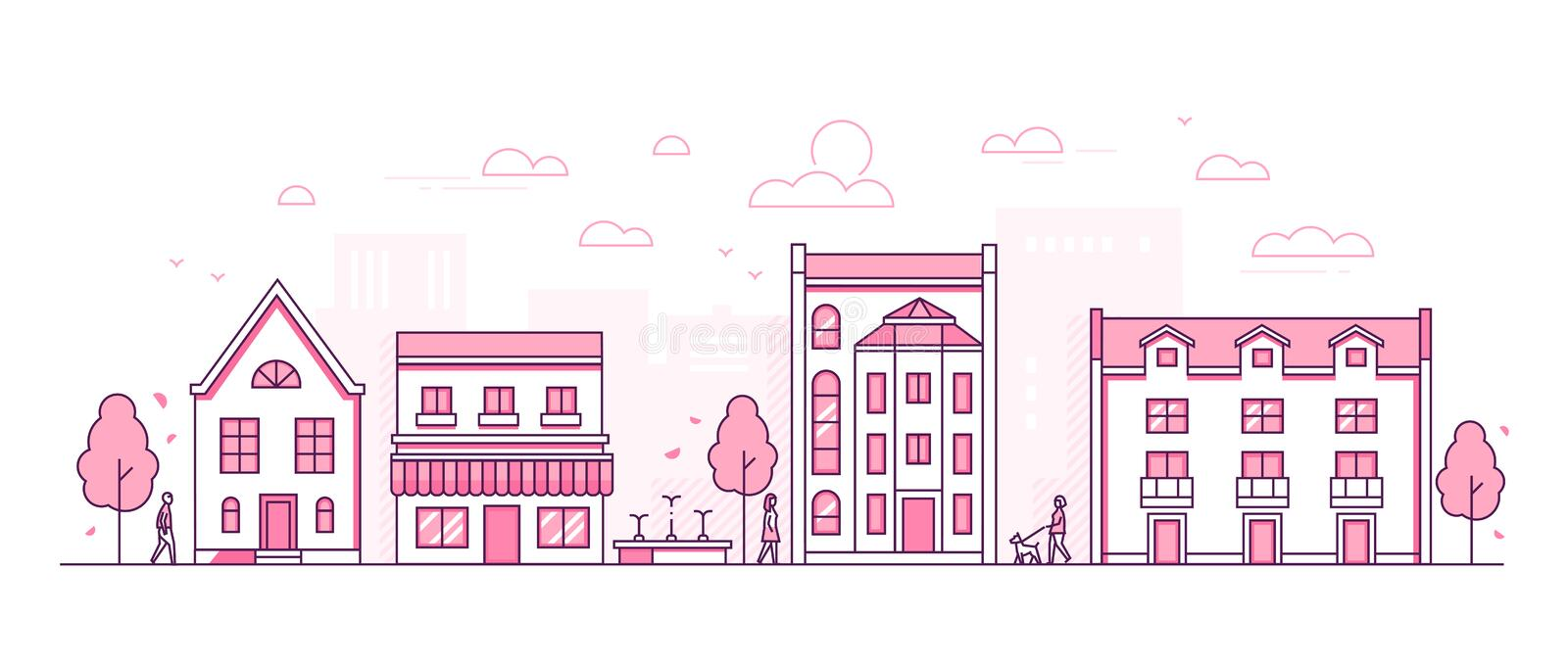 City street - modern thin line design style vector illustration. On white background. Pink colored high quality composition with facades of cottage houses royalty free illustration