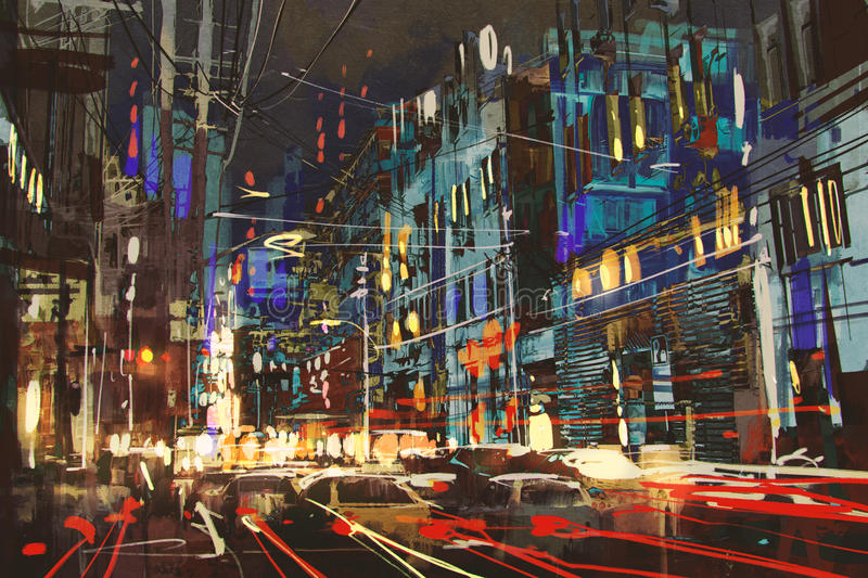 City street at night with colorful lights. Digital painting of city street at night with colorful lights vector illustration
