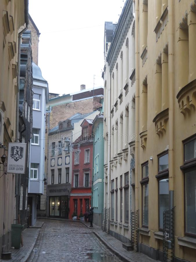 City street in Riga stock image
