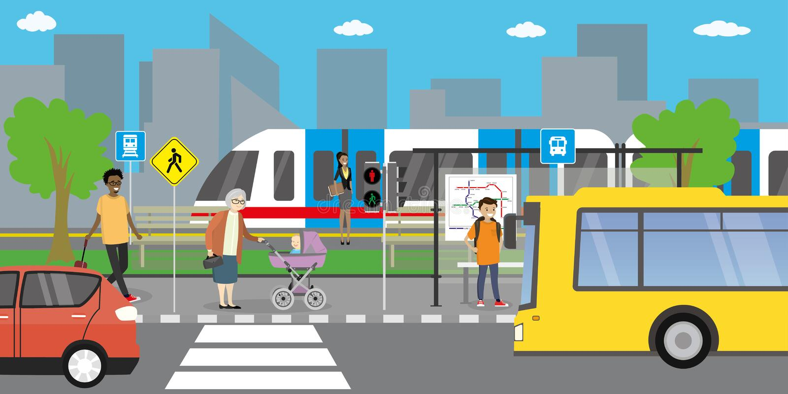 City street and road,public transport stop,different transportation stock illustration
