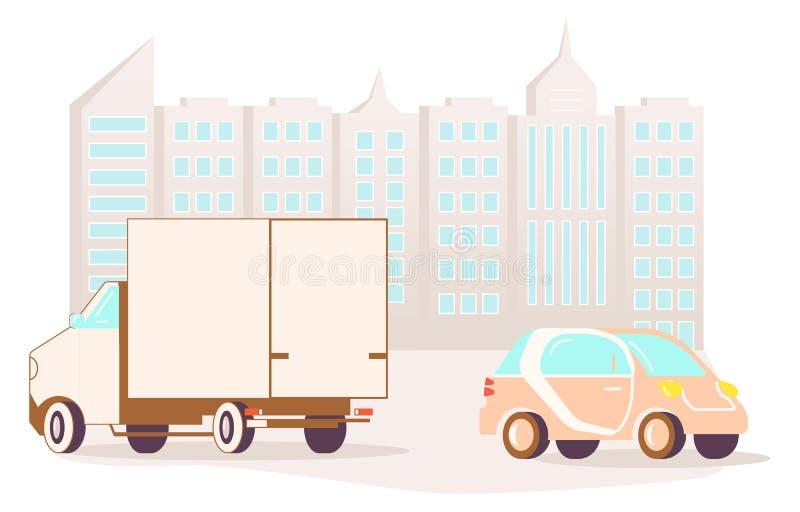 City street and road. Urban landscape concept. Flat Art Vector illustration vector illustration