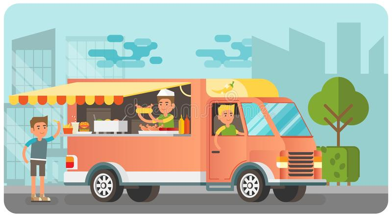 City street scene with food truck vector illustration stock illustration