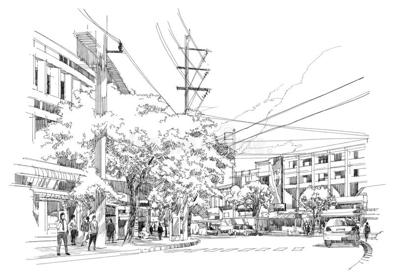 City street sketch stock illustration