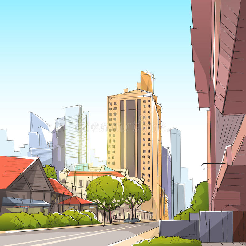 City Street Skyscraper View Sketch Cityscape. Vector Illustration royalty free illustration