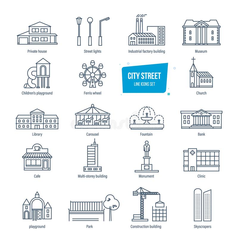 City street line icons set. City landscapes. Buildings, transport, architecture. stock illustration