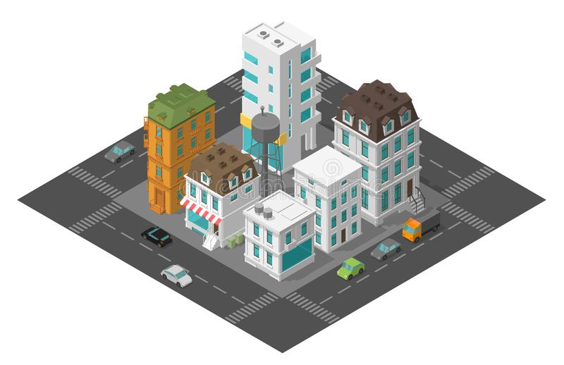 City street town district quarter Isometric the road around. Cars end buildings top view 3d. Vector illustration. Stock clipart royalty free illustration