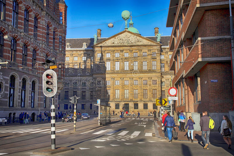City street view of Amsterdam, the Netherlands stock images