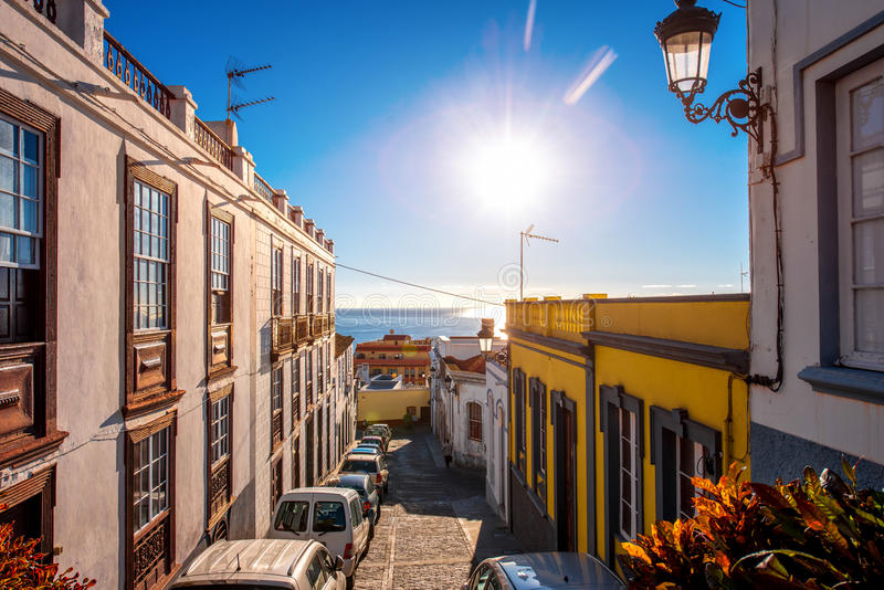 City street view in Santa Cruz de La Palma. Old town on La Palma island in Spain royalty free stock images