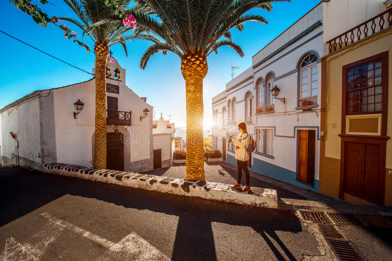 City street view in Santa Cruz de La Palma. Old town on La Palma island in Spain royalty free stock photo