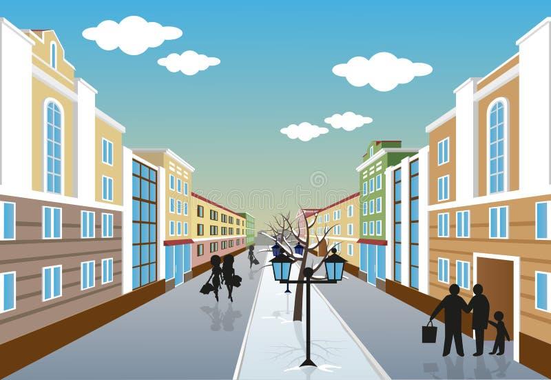 City street in winter vector illustration