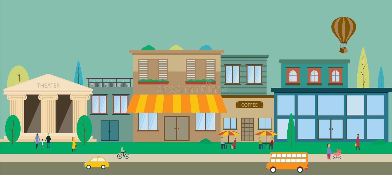 City streets in flat design vector illustration