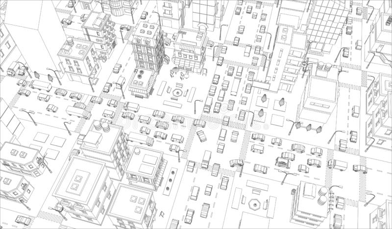 Vector city streets Intersection outline. Buildings and road traffic top view. Gray lines outline contour style vector illustration