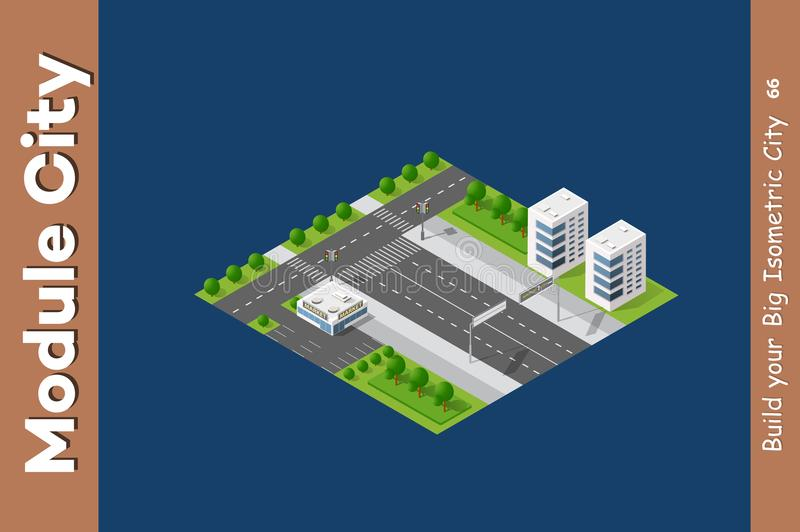 City streets intersection. City streets park garden of the town landscape. 3D isometric view from the roads and streets. Dimensional view of the flat skyline royalty free illustration