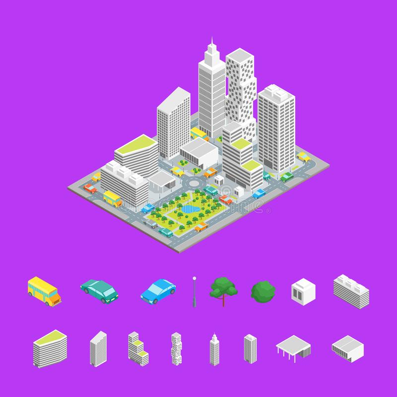 City Streets Isometric View. Vector. City Streets and Elements Isometric View Architecture Modern District for Map Plan on a Background. Vector illustration of royalty free illustration