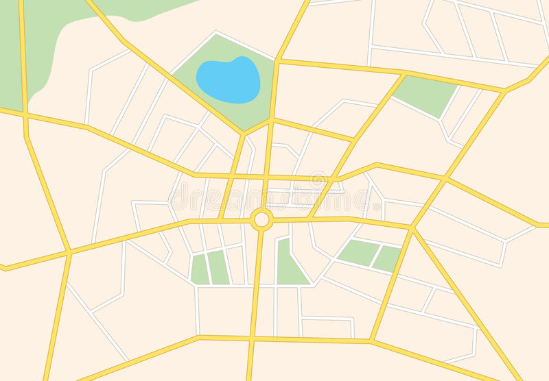 City streets on the map - vector background royalty free illustration