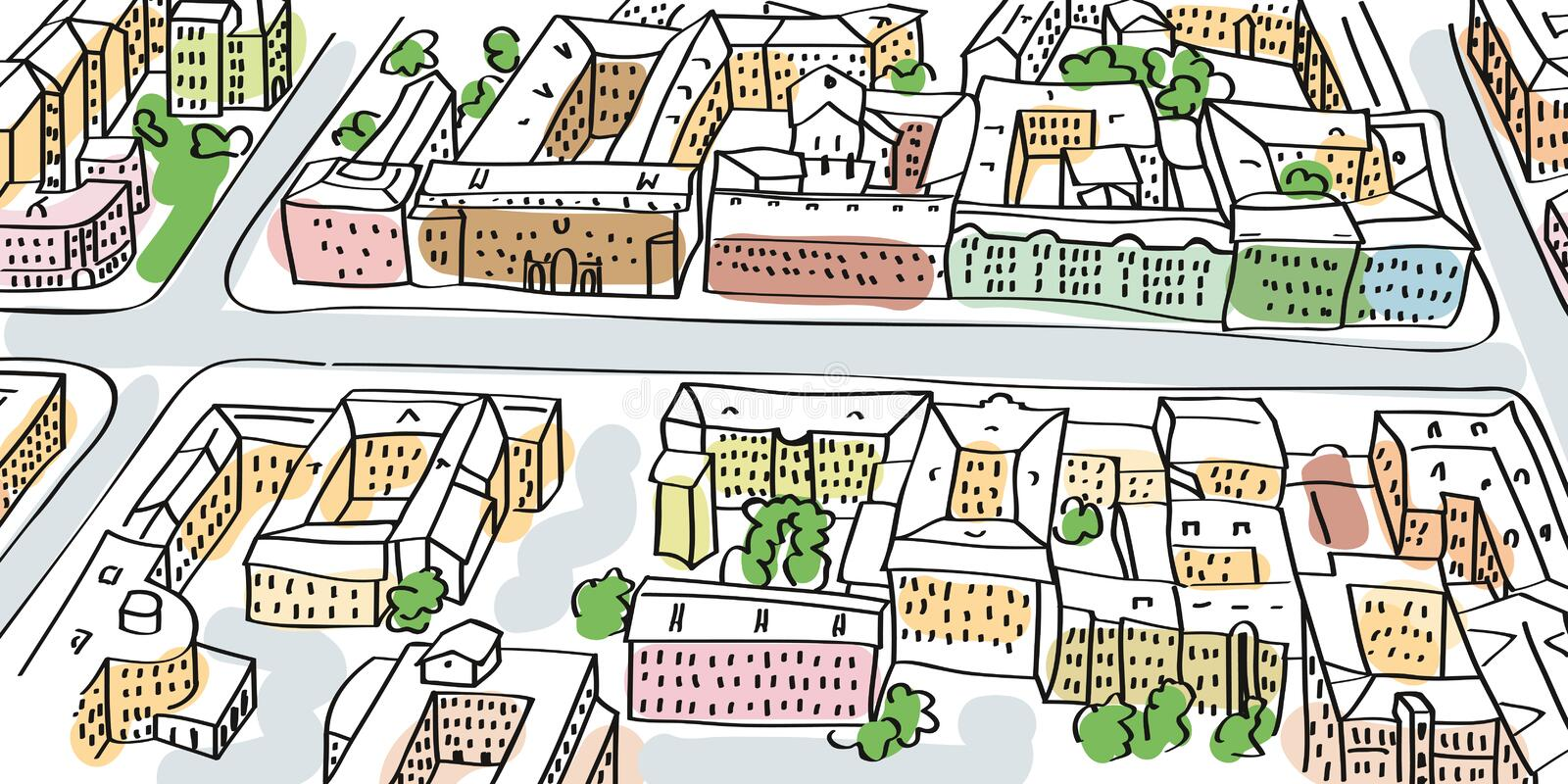 City streets perspective, top view. Illustration of city streets perspective. Buildings and crossroads, top view royalty free illustration