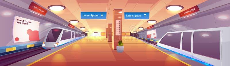 City subway station cartoon vector interior. City rapid transit system, modern railway underground station cartoon vector interior with subway, high-speed stock illustration