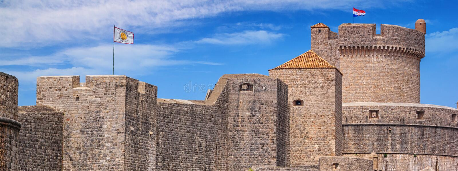 City summer landscape, banner - view of the Minceta Tower and the Walls Old Town of Dubrovnik royalty free stock photography
