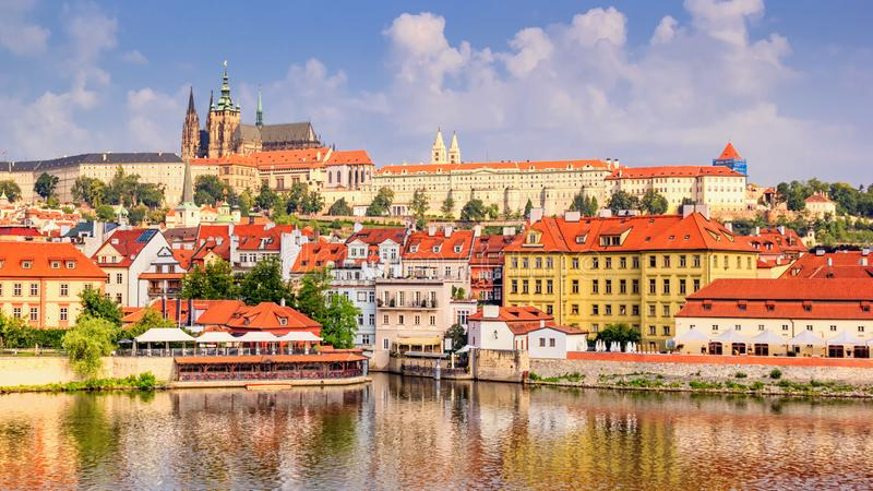 City summer landscape - view of the Hradcany historical district of Prague and castle complex Prague Castle stock photography