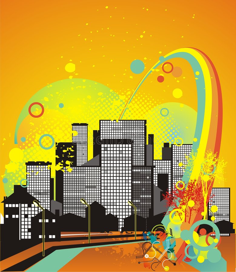 City in the summer night. City scape, rainbow and abstract ornaments, vector illustration