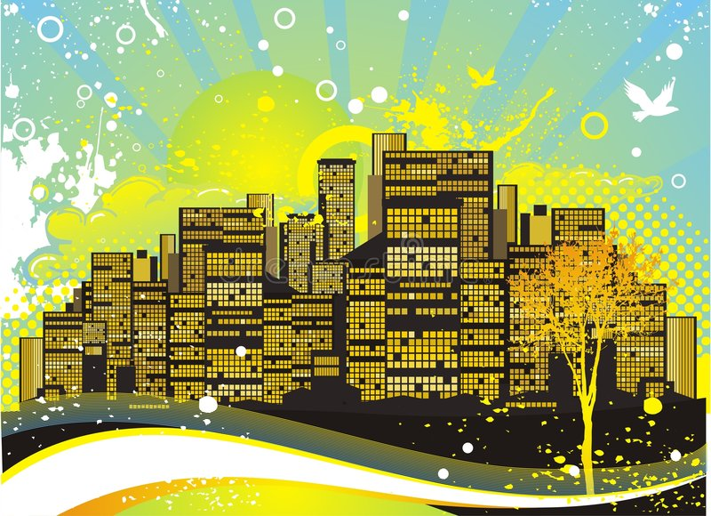 City in the summer night vector illustration