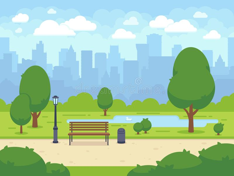 Town Landscape Vector Illustration: City Summer Park With Green Trees Bench, Walkway And