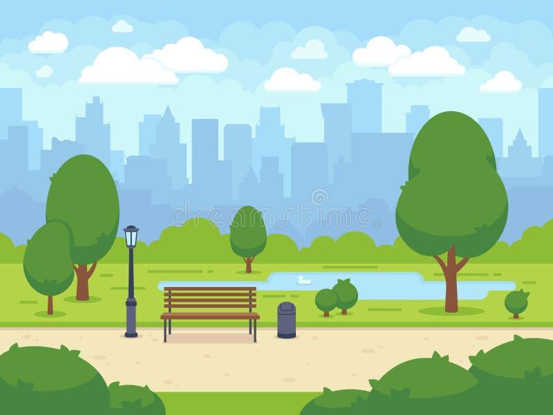 City summer park with green trees bench, walkway and lantern. Cartoon vector illustration vector illustration