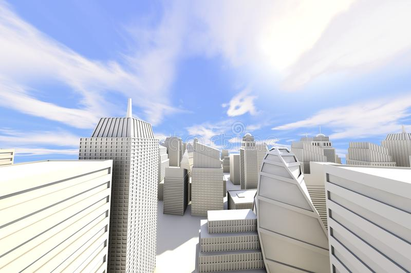 City in the Sun. With Blue Cloudy Sky - 3D Render stock illustration