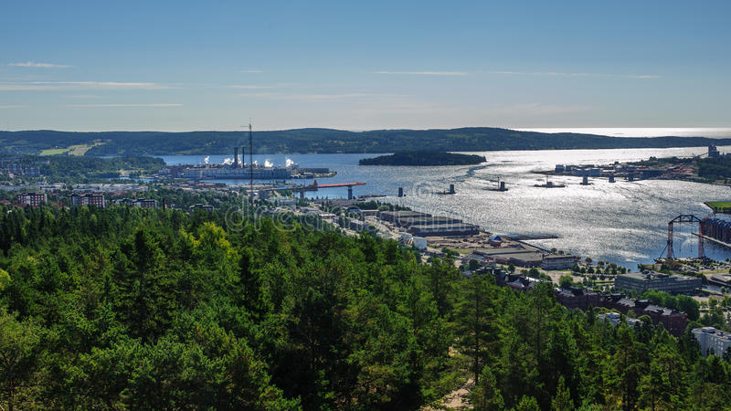 The city of Sundsvall, Sweden. The city of Sundsvall from a high point stock photography