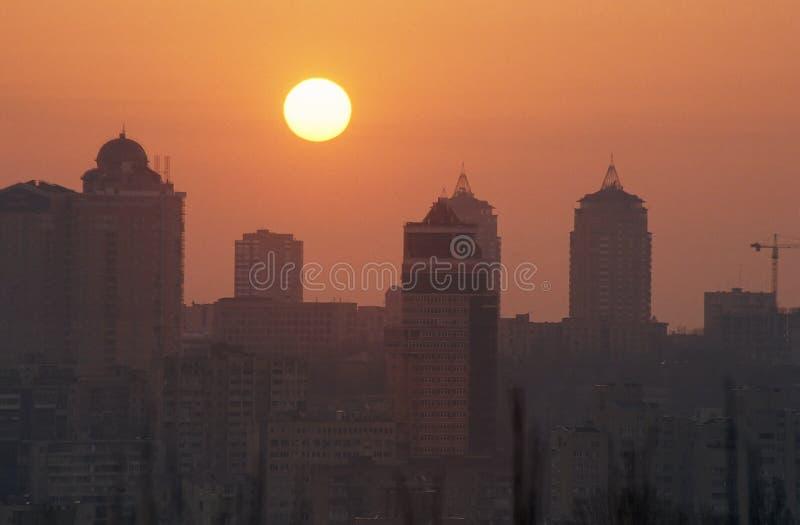 City sunrise, real estate royalty free stock photos