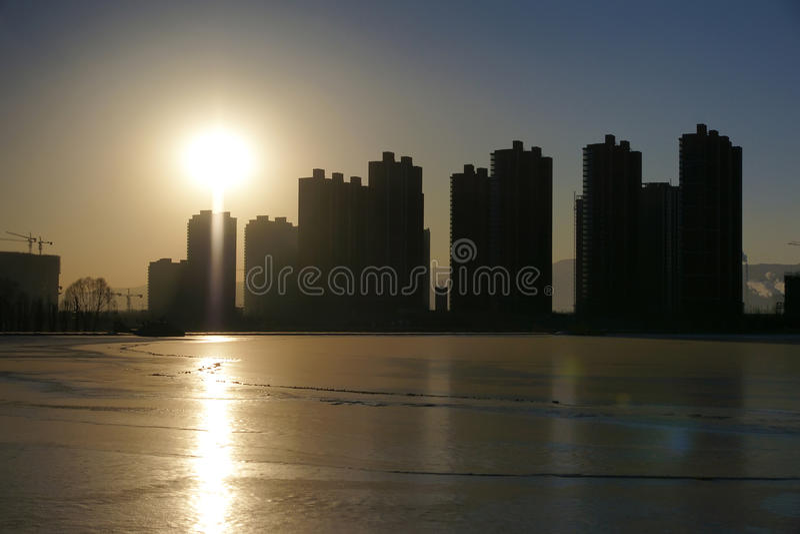 City sunset. The landscape of city sunset royalty free stock photos