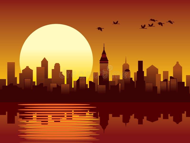 City sunset. Sunset in a big modern city, vector stock illustration