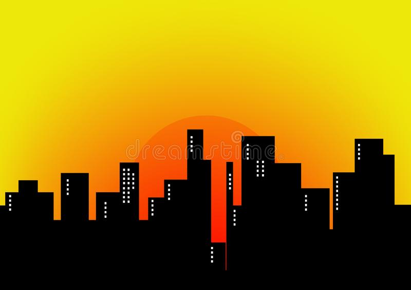 City sunset stock image