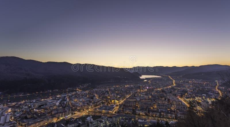 City at sunset royalty free stock photo