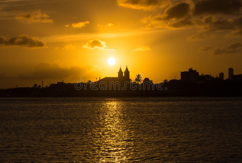 City sunset. Sunset in Recife, Brazil stock images