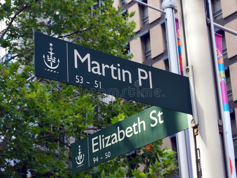 Sydney City Street Signs, Martin Place and Elizabeth Street, Australia. City of Sydney central business street signs at the intersection of Elizabeth Street and royalty free stock images
