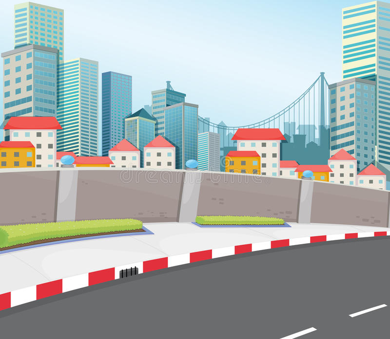 A city with tall buildings. Illustration of a city with tall buildings vector illustration
