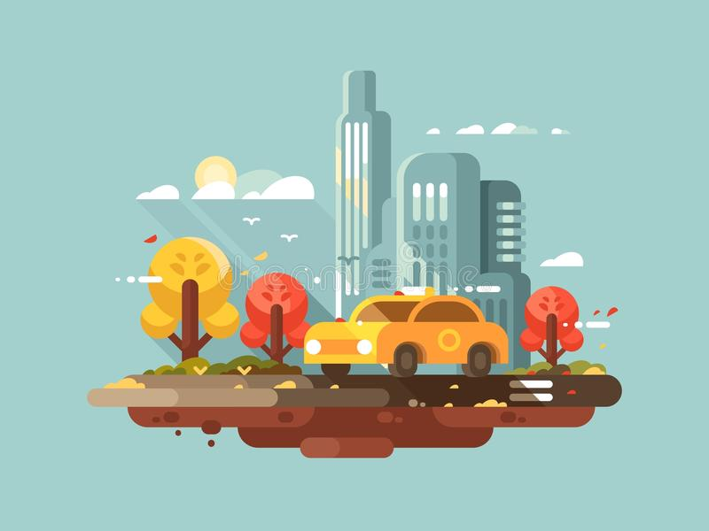 City taxi design flat vector illustration