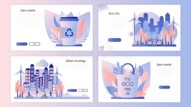 Urban ecology set. Zero Waste. Screen template for mobile smart phone, landing page, template, ui, web, mobile app, poster, banner. Flyer. Flat style. Vector royalty free illustration