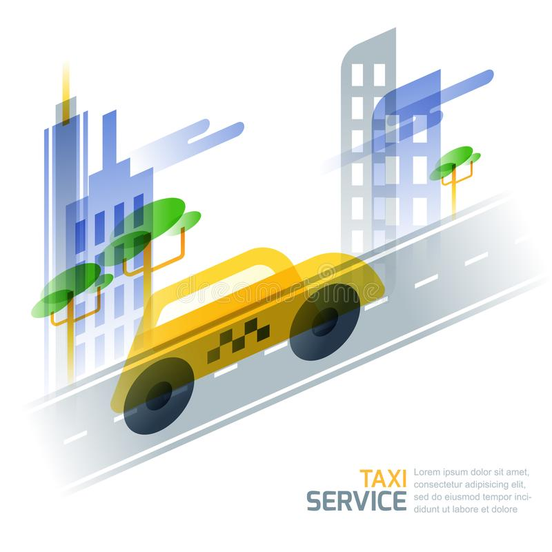 City taxi service concept. Vector illustration of taxi yellow cab on asphalt road against cityscape. vector illustration